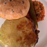 Ivy Burger with Welsh Rarebit topping