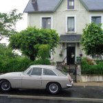 Classic B&B with a french twist .MGB classic caught in early mist