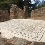 The original mosaic tile of the Greek Baths in Ancient Olympia