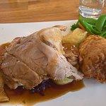 The pork shoulder roast - the crackling is on the left