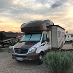 A few miles outside of Taos, but the RV park is surrounded by mountains and each evening you get