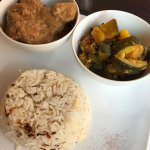 Mughlai chiken in creamy sauce Aubergines & sweet potatoes in a green curry sauce