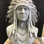 .This afternoon Alan finished sculpting the White Man Runs Him Bust, which is the latest in a se