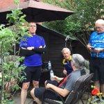 the radnor ring cyclists enjoying the comunal garden