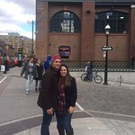 My boyfriend and I standing in front of St. Lawrence Market.