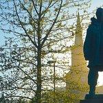 Amundsen statue and Tromso Domkirke