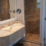 Separate shower and double sinks