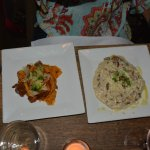 truffle risotto and wild boar pappardelle split in the kitchen.