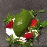 Strawberries on mascarpone cream and herb ice cream
