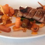 Duck breast with marinated carrots & roast stuffing - best duck dish ever