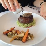 beef with chicken liver parfait on herb risotto & roasted root vegetables & awesome gravy