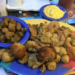 Seafood Platter with fried okra and cheese grits