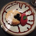 Almond tart and raspberry sorbet!