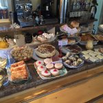 Photos from inside the tearoom,a view of the River Lagan and some of the yummy treats on offer.
