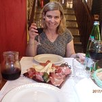 House wine with meat and cheese plate