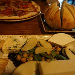 pizza, sourdough bread and cheese plate