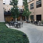 Beautiful quiet courtyard between hotel and parking garage.