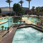 The Morongo Hotel pool area is very well maintained and looks great. A lazy river, sand beach po