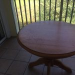 This is on screened porch. Kitchen table and one plastic chair for porch. Filthy. Condo #2