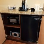 Microwave, K-cup style coffee maker, and refrigerator