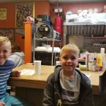 My boys sitting at the counter