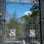 Large iron gates at entrance to the gardens