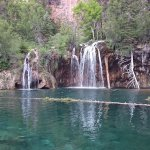 This is an unedited photo of the goal of the hike..Hanging Lake!