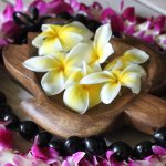lotus flowers and leis at Turtle Bay