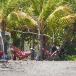 The beach was secluded, lots of coconut trees and hammocks were available too.
