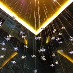 Crystal butterflies above reception