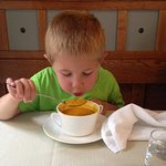 Our son absolutely LOVED the carrot soup and purple mashed potatoes....and dessert
