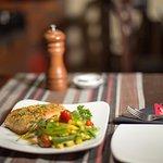 Poached Atlantic Salmon with Snow Pea, Sweetcorn & Cherry Tomato salad