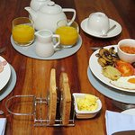 Breakfast. Feeling hungry. Stay at The Boat House Laugharne