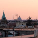 St Peter's Basilica in the early evening from the roof top garden