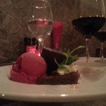This was for desert: chocolate brownie with raspberry sorbet with a glass of merlot on the side.
