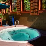 Hot tub amongst the cedars
