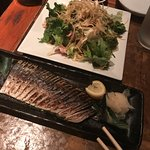 Free salad and scorched mackerel