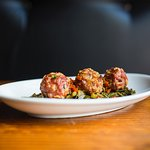 Boudin Balls with Collards and Red Pepper Relish