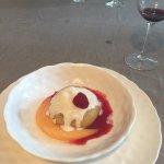 Dessert: Poached peach with English Cream Ice Cream.