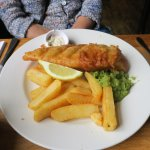 Fish, chips, mushy peas (The standard sized portion)
