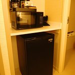 Fridge, microwave and coffeemaker