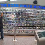 A display of bobbleheads from across baseball has vibrating shelves to make the heads bobble.