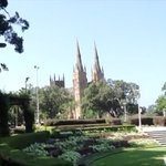 View of St. Mary's Cathedral from Hyde Park.