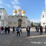 Dentro de la Plaza Central con las Catedrales dentro del Kremlin de Moscú