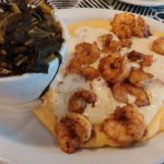 The best Shrimp and Grits plus collar green