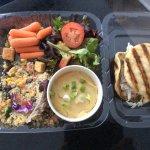Trio of salads with flatbread sandwich