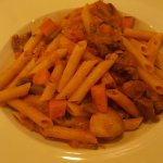 Beef with vegetable pasta
