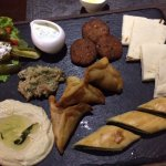 veg Mezze - feta with pickled veggies, hummus, falafel ,pita , samosak and other things