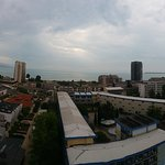 Panoramic view of Sunny Beach from Meridians roof restaurant
