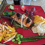 Delicious salmon dinner with mango & jicama salad, scalloped potatoes, vegies & fruits